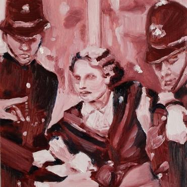 Archive V Police Brutality, 2017, oil on wooden board, 20 x 15 cm