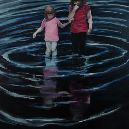 Deep down there is still an echo, 2014, oil on board, 80 x 120 cm