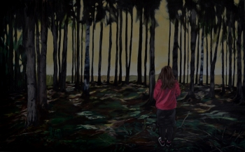 It's just a quick walk to the future from here. 2014, oil on canvas, 115 x 73 cm