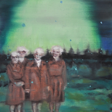 Välkomstkommittéen, 2016, oil on paper, 28 x 21 cm