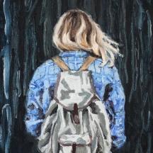 Uppdrag; 2018, olja på duk, 21 x 27 cm