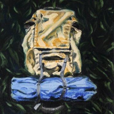 Kvarleva; 2018, olja på duk, 21 x 27 cm
