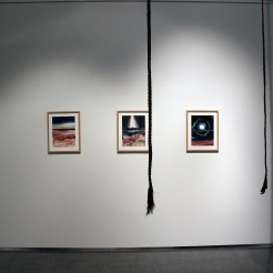 Flatlands; triptych in oil on paper. As installed at Lapua Art Museum in 2019.