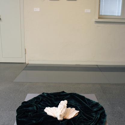 The Jade Sleepers; 13 clay birds resting on 10 velvet mats. Installation detail from Lapua Art Museum, 2019
