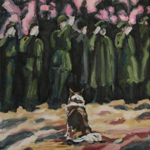 Salute the dog; 2019, oil on linen, 50 x 40 cm