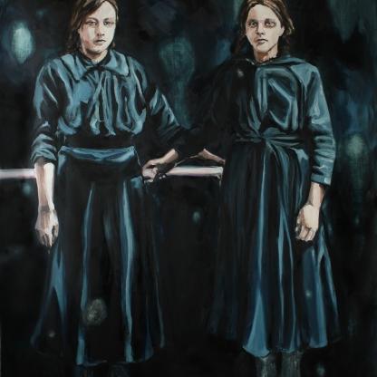 Totem I; 2019, oil on linen, 220 x 150 cm