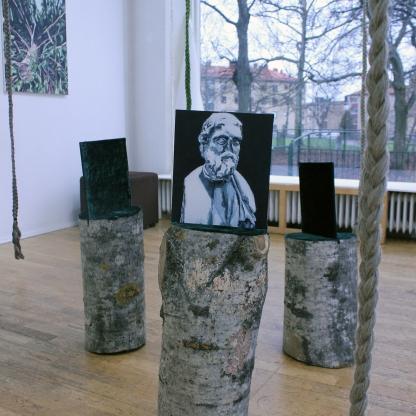 Tidens Vittnen (triptyk), 2019, olja på MDF, trä, sammet