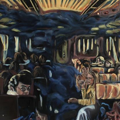 Elvis rides in the backseat, 2020, oil on linen, 140 x 140 cm