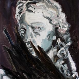Kråkvinge, 2020, oil on MDF, 30 x 24 cm